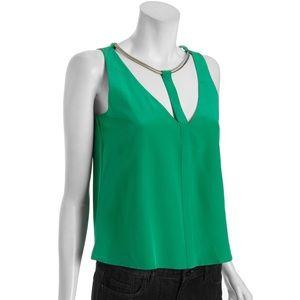 BCBGMAXAZRIA Nydia Silk Top in Green Opal